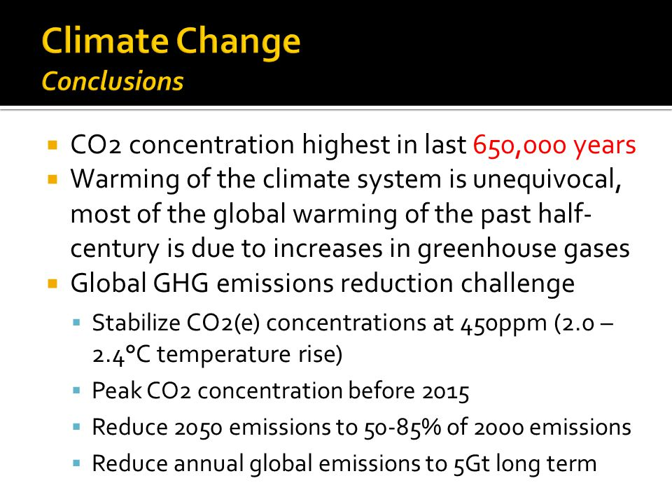  CO2 concentration highest in last 650,000 years  Warming of the climate system is unequivocal, most of the global warming of the past half- century is due to increases in greenhouse gases  Global GHG emissions reduction challenge  Stabilize CO2(e) concentrations at 450ppm (2.0 – 2.4°C temperature rise)  Peak CO2 concentration before 2015  Reduce 2050 emissions to 50-85% of 2000 emissions  Reduce annual global emissions to 5Gt long term