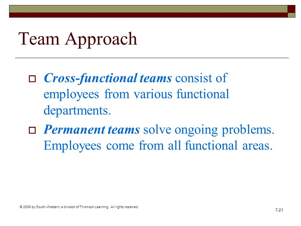 © 2006 by South-Western, a division of Thomson Learning. All rights reserved. 7-21 Team Approach  Cross-functional teams consist of employees from va