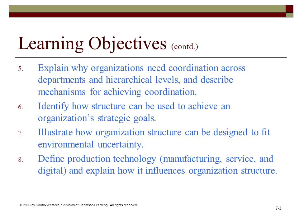 © 2006 by South-Western, a division of Thomson Learning. All rights reserved. 7-3 Learning Objectives (contd.) 5. Explain why organizations need coord
