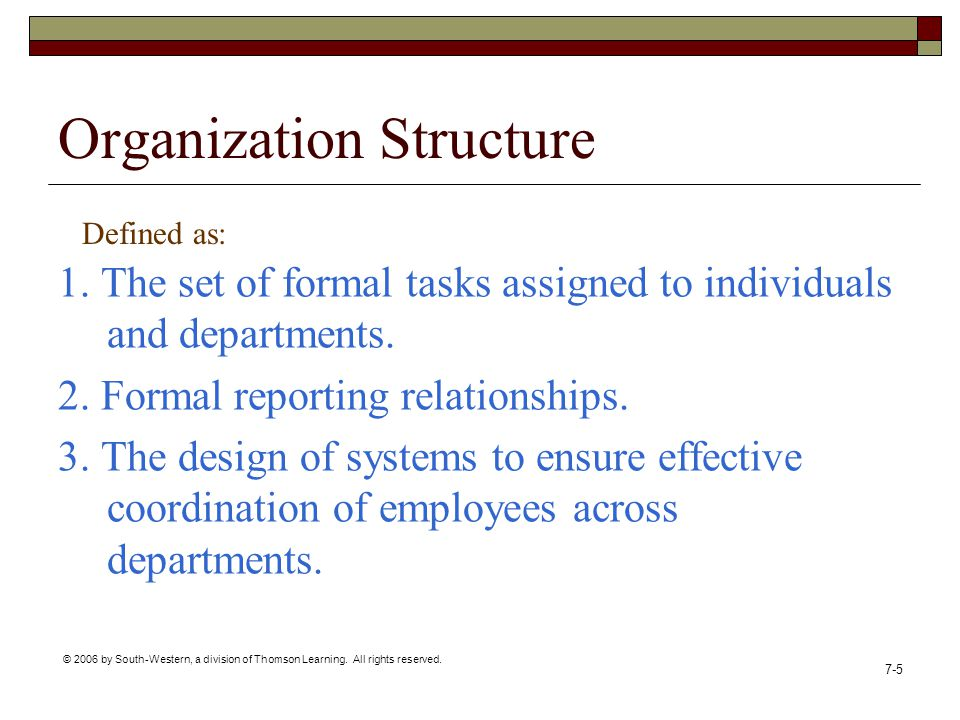 © 2006 by South-Western, a division of Thomson Learning. All rights reserved. 7-5 Organization Structure 1. The set of formal tasks assigned to indivi