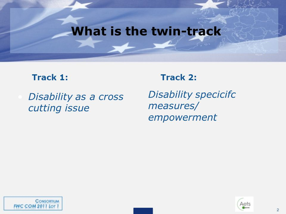 What is the twin-track What is the twin-track Track 1:Track 2: Disability as a cross cutting issue Disability specicifc measures/ empowerment