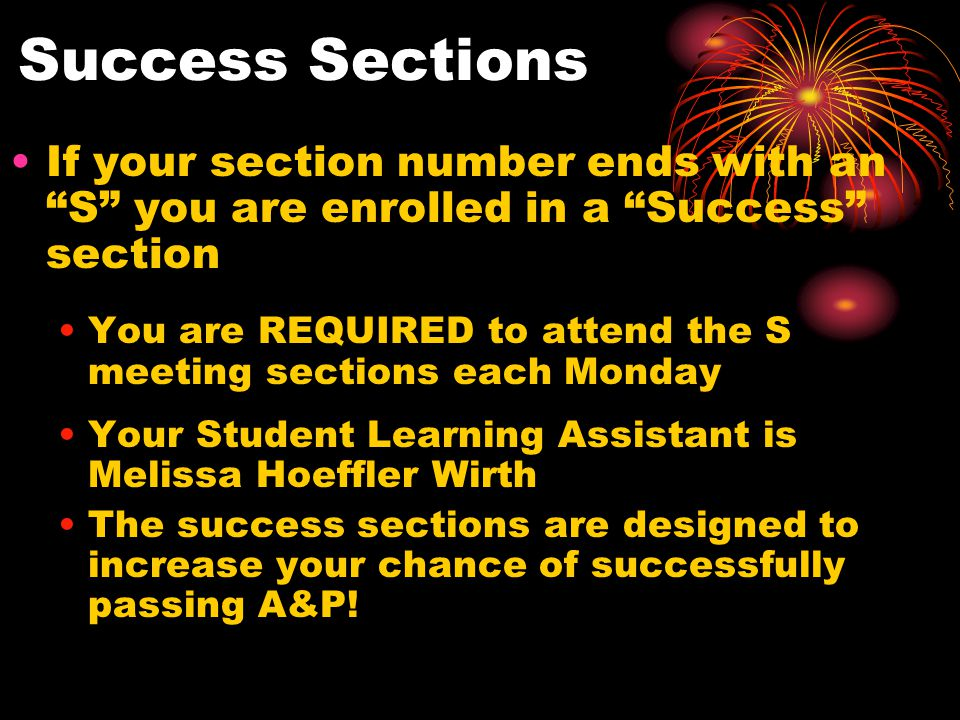 Success Sections If your section number ends with an S you are enrolled in a Success section You are REQUIRED to attend the S meeting sections each Monday Your Student Learning Assistant is Melissa Hoeffler Wirth The success sections are designed to increase your chance of successfully passing A&P!