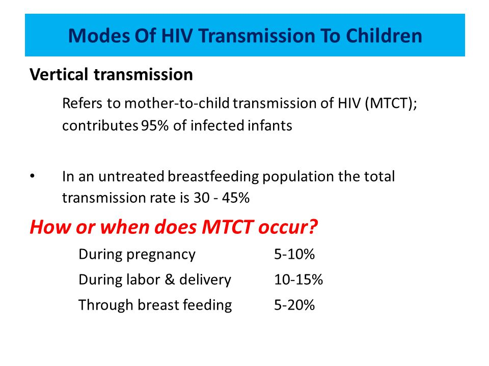 Modes Of HIV Transmission To Children Vertical transmission Refers to mother-to-child transmission of HIV (MTCT); contributes 95% of infected infants In an untreated breastfeeding population the total transmission rate is 30 - 45% How or when does MTCT occur.