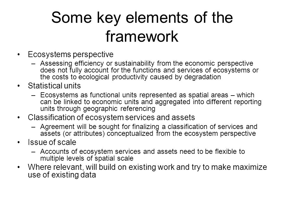Some key elements of the framework Ecosystems perspective –Assessing efficiency or sustainability from the economic perspective does not fully account for the functions and services of ecosystems or the costs to ecological productivity caused by degradation Statistical units –Ecosystems as functional units represented as spatial areas – which can be linked to economic units and aggregated into different reporting units through geographic referencing Classification of ecosystem services and assets –Agreement will be sought for finalizing a classification of services and assets (or attributes) conceptualized from the ecosystem perspective Issue of scale –Accounts of ecosystem services and assets need to be flexible to multiple levels of spatial scale Where relevant, will build on existing work and try to make maximize use of existing data
