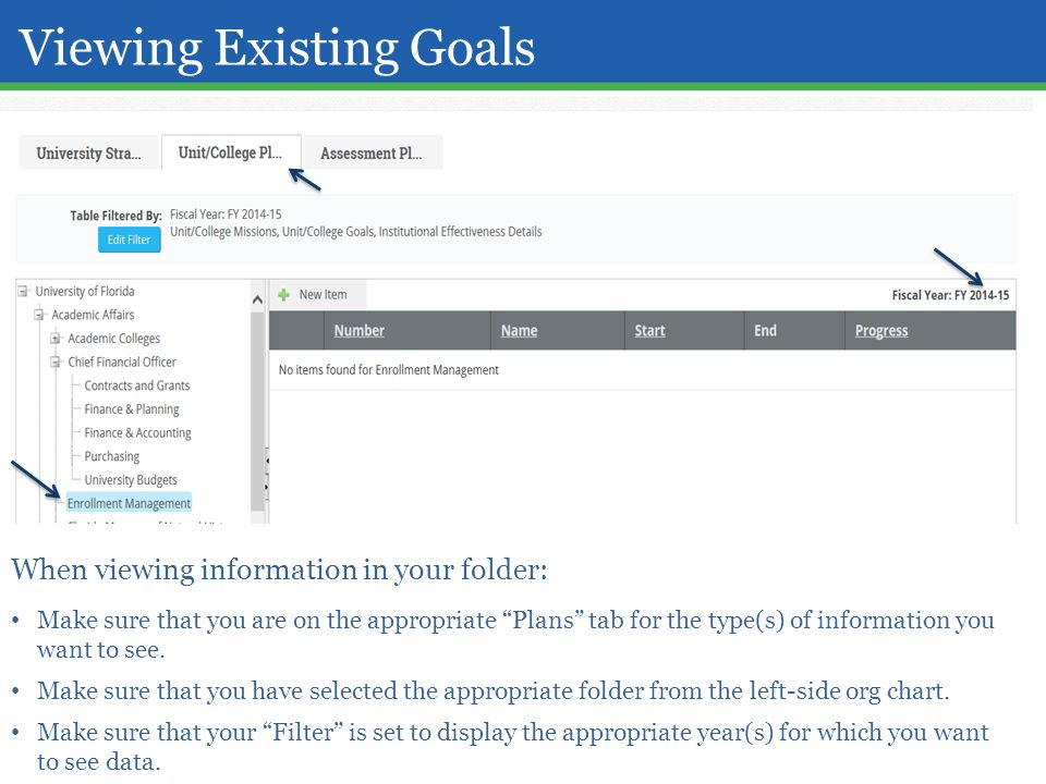 Viewing Existing Goals When viewing information in your folder: Make sure that you are on the appropriate Plans tab for the type(s) of information you want to see.