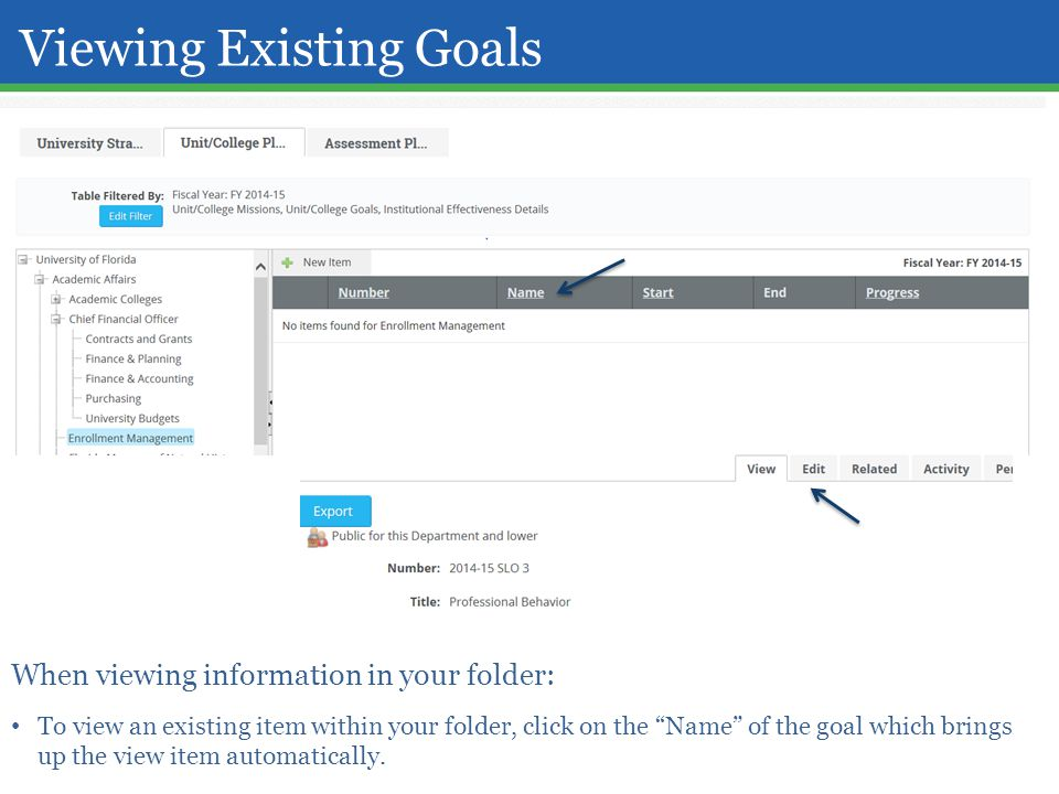 Viewing Existing Goals When viewing information in your folder: To view an existing item within your folder, click on the Name of the goal which brings up the view item automatically.