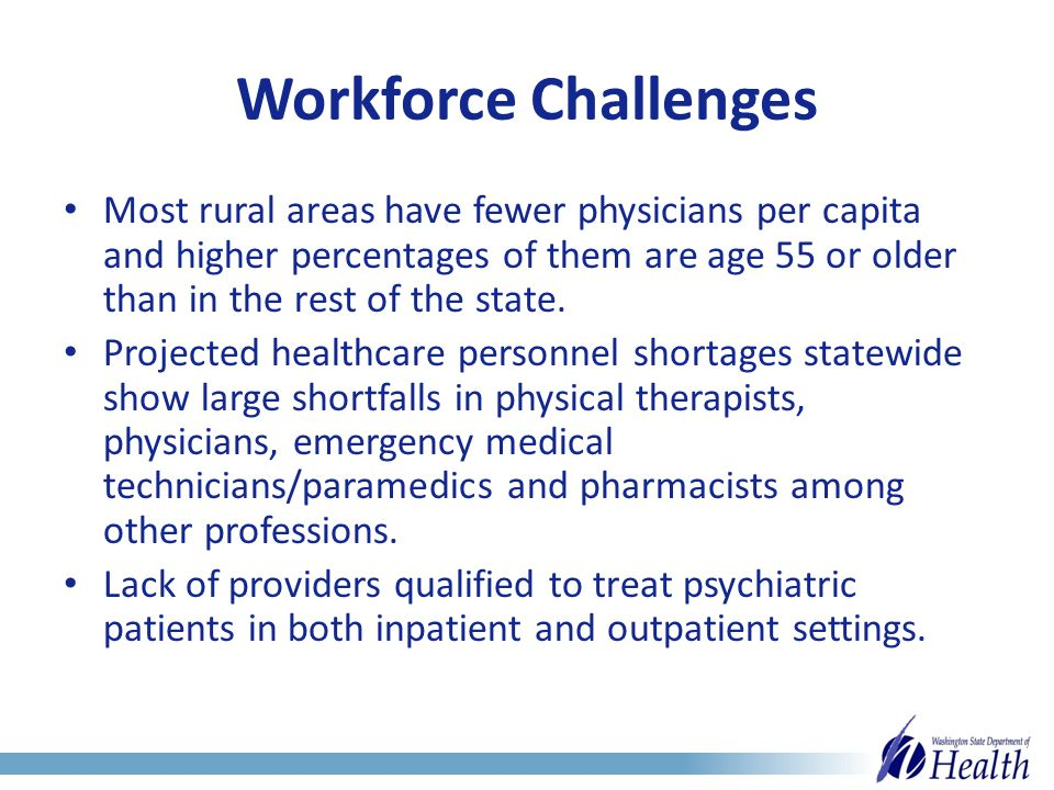 Workforce Challenges Most rural areas have fewer physicians per capita and higher percentages of them are age 55 or older than in the rest of the state.