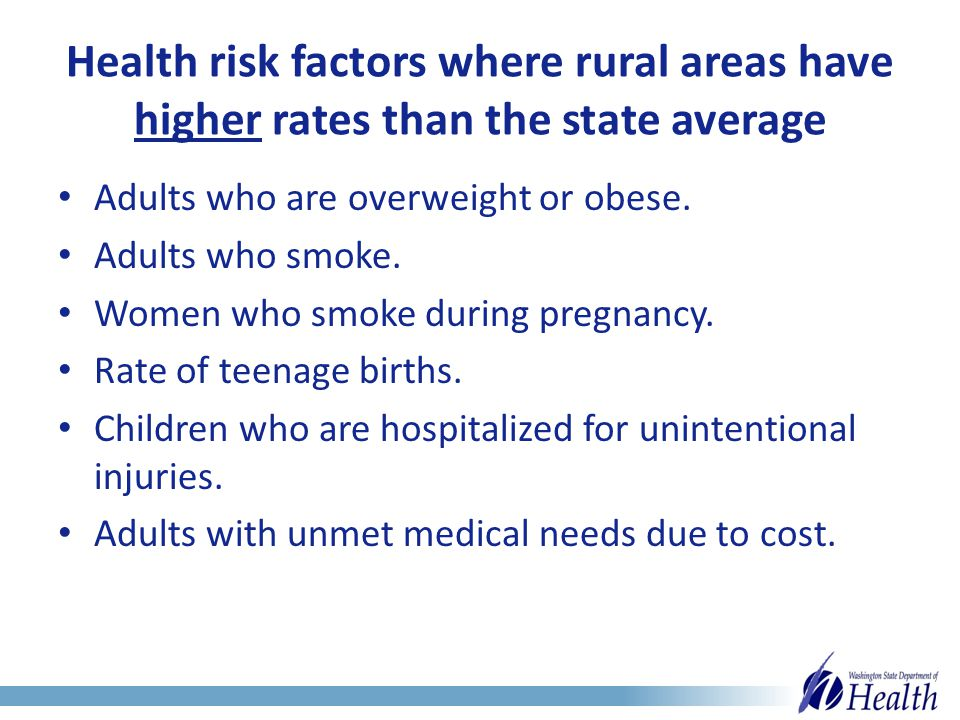 Health risk factors where rural areas have higher rates than the state average Adults who are overweight or obese.