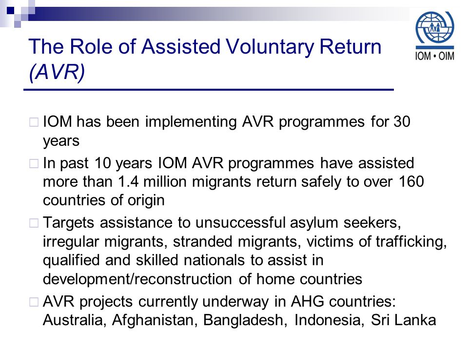 The Role of Assisted Voluntary Return (AVR)  IOM has been implementing AVR programmes for 30 years  In past 10 years IOM AVR programmes have assisted more than 1.4 million migrants return safely to over 160 countries of origin  Targets assistance to unsuccessful asylum seekers, irregular migrants, stranded migrants, victims of trafficking, qualified and skilled nationals to assist in development/reconstruction of home countries  AVR projects currently underway in AHG countries: Australia, Afghanistan, Bangladesh, Indonesia, Sri Lanka