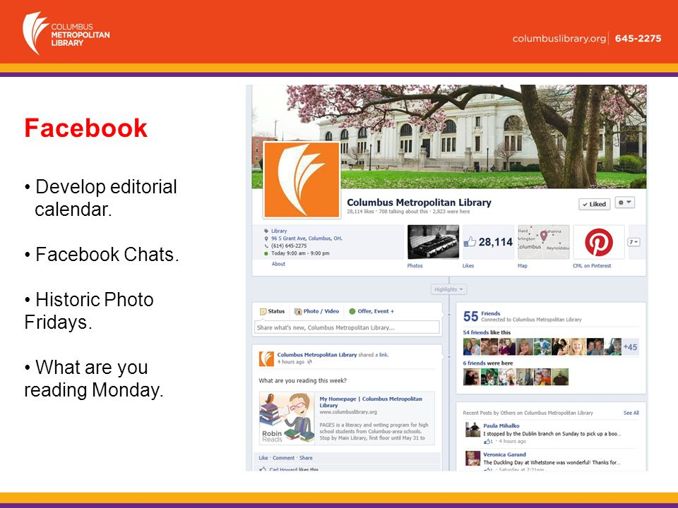 Facebook Develop editorial calendar. Facebook Chats.