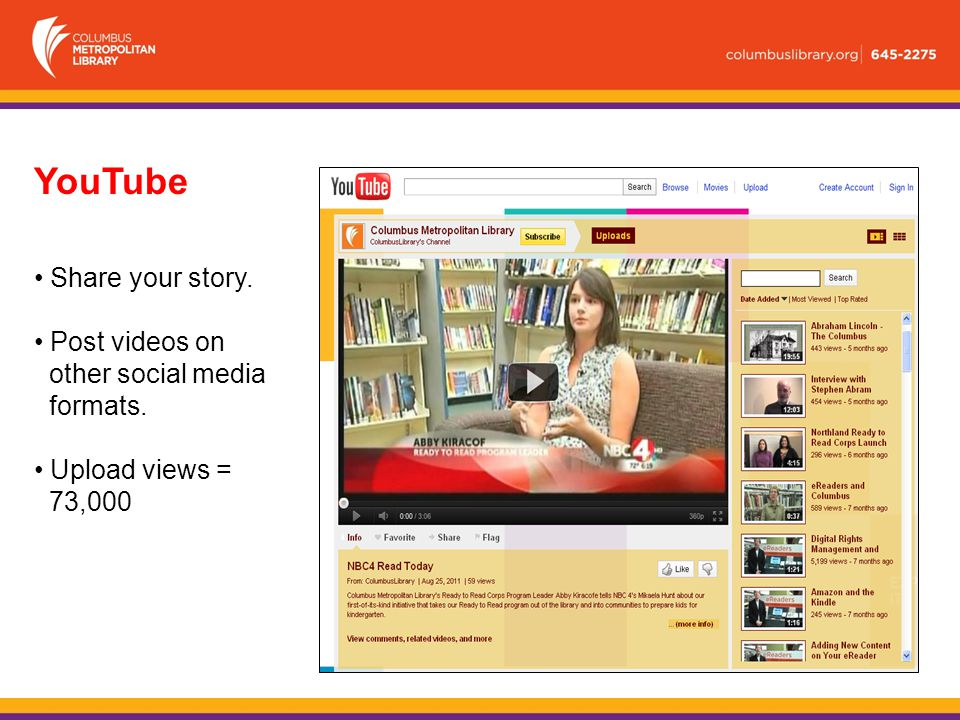 YouTube Share your story. Post videos on other social media formats. Upload views = 73,000
