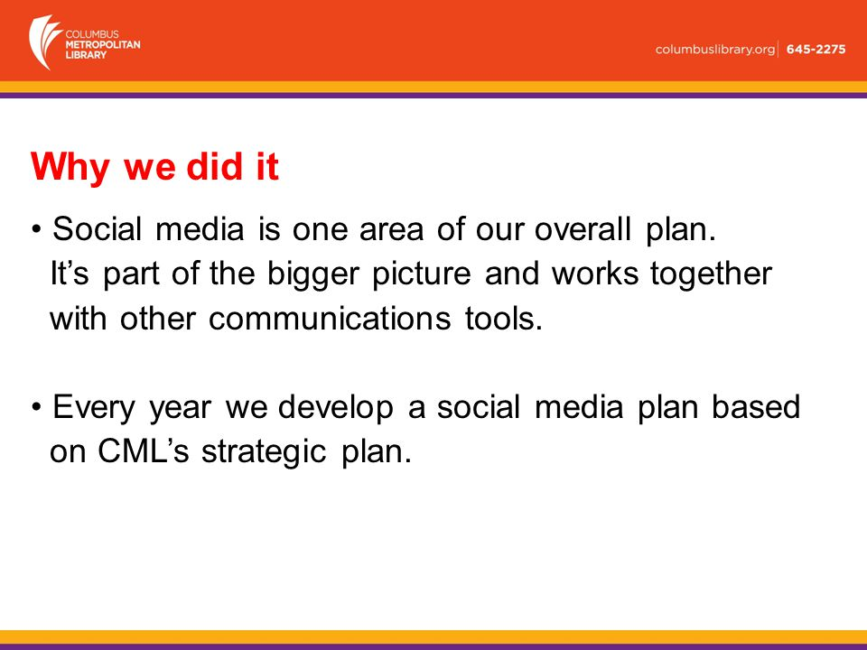 Why we did it Social media is one area of our overall plan.