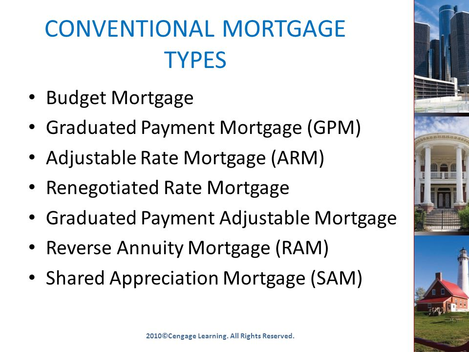 CONVENTIONAL MORTGAGE TYPES Budget Mortgage Graduated Payment Mortgage (GPM) Adjustable Rate Mortgage (ARM) Renegotiated Rate Mortgage Graduated Payment Adjustable Mortgage Reverse Annuity Mortgage (RAM) Shared Appreciation Mortgage (SAM) 2010©Cengage Learning.