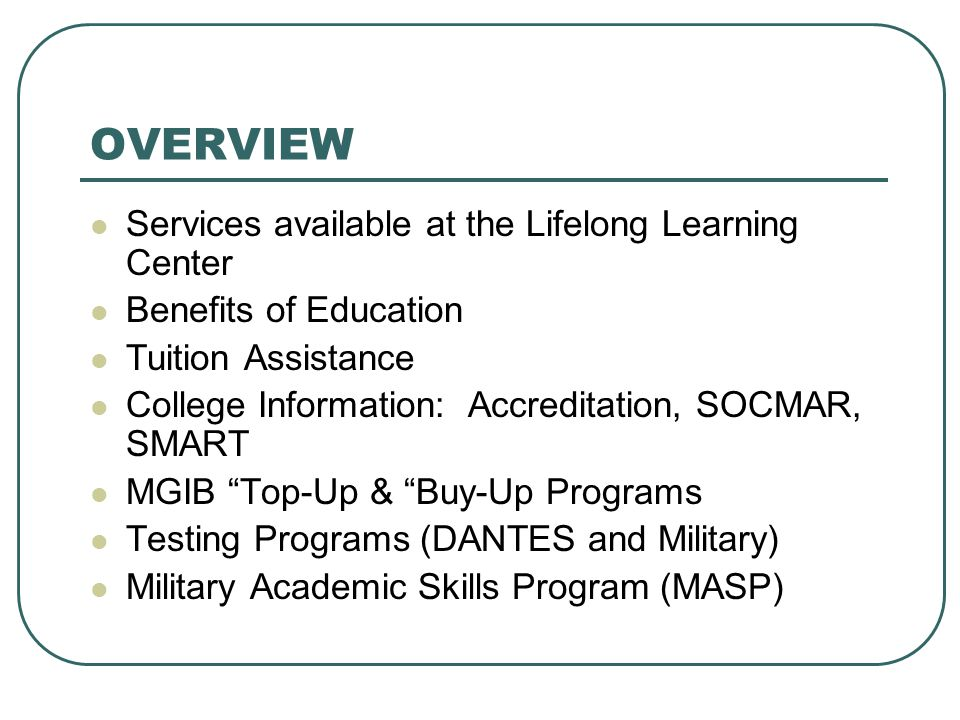 military academic skills program With oasc (online academic skills course) and cpst (college placement skills training), you will be on your way to military and college success about the courses.