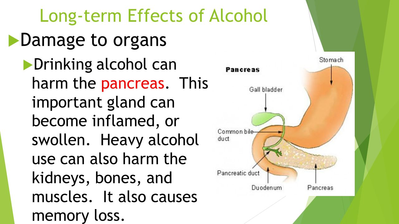Long-term Effects of Alcohol  Damage to organs  Drinking alcohol can harm the pancreas.