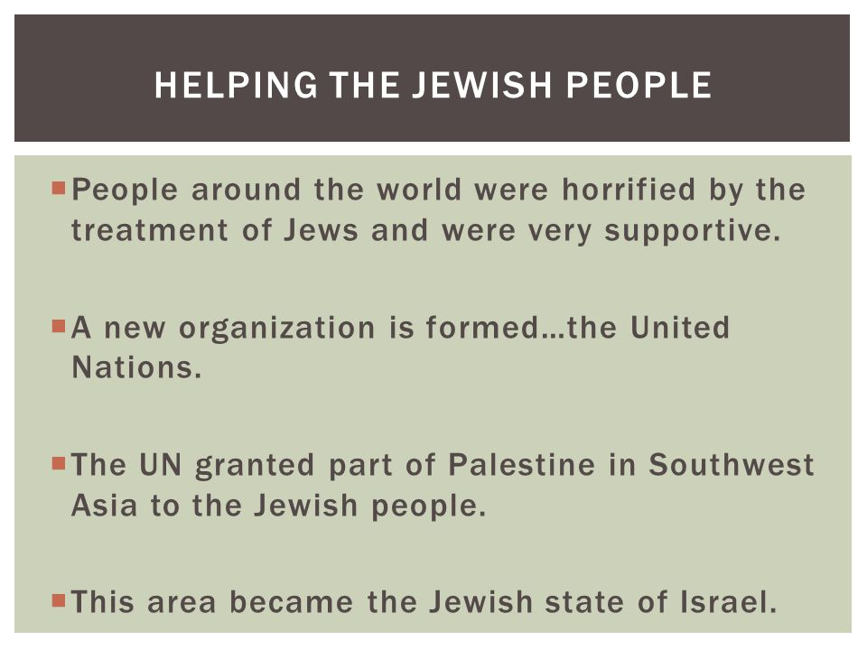  People around the world were horrified by the treatment of Jews and were very supportive.