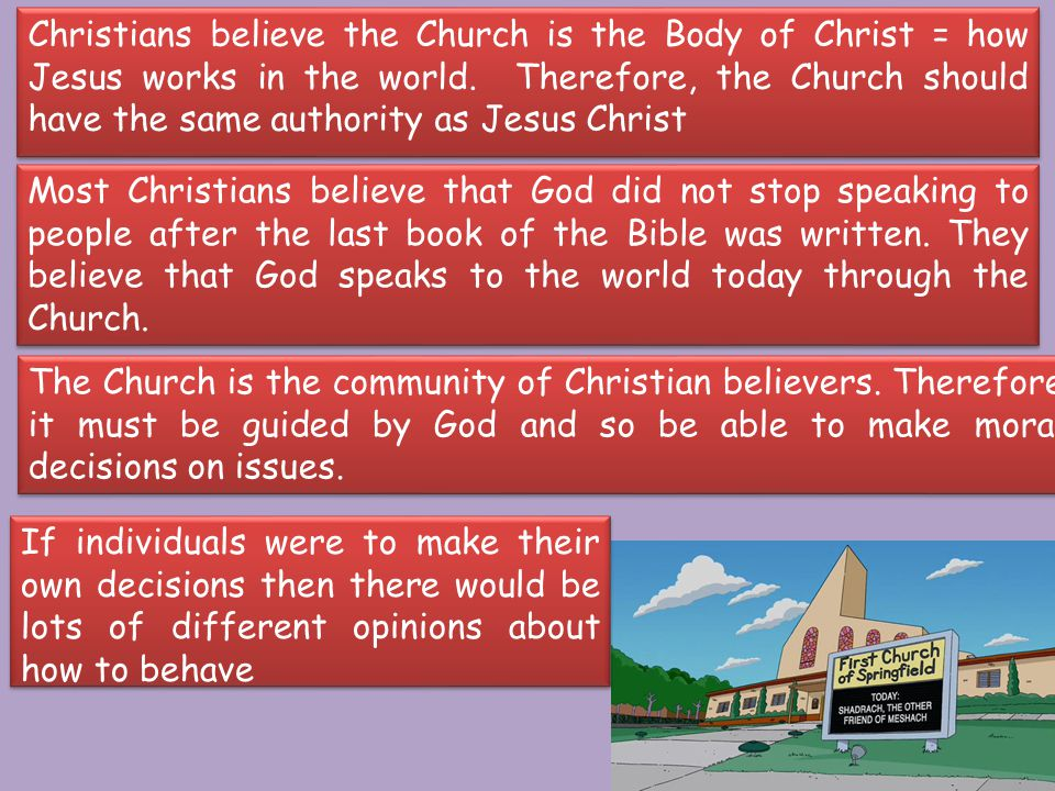 Christians believe the Church is the Body of Christ = how Jesus works in the world.