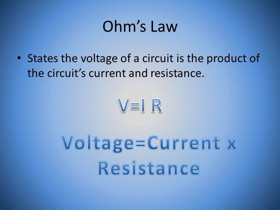 Ohm's Law States the voltage of a circuit is the product of the circuit's current and resistance.