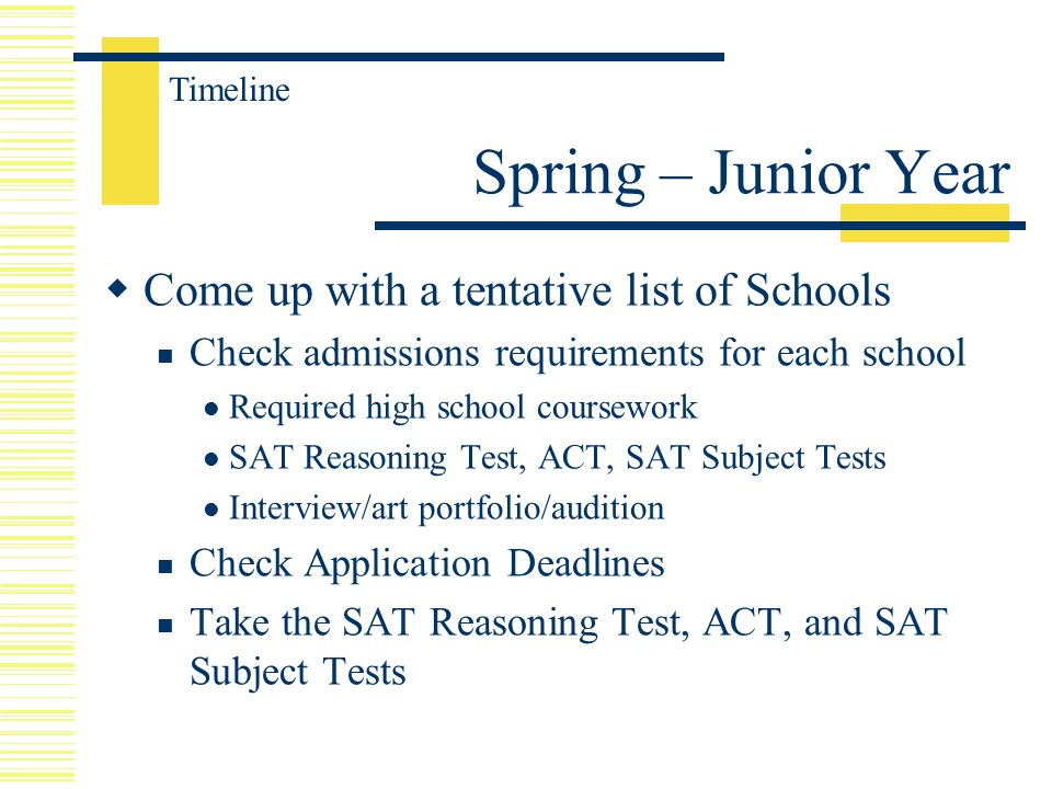  Come up with a tentative list of Schools Check admissions requirements for each school Required high school coursework SAT Reasoning Test, ACT, SAT Subject Tests Interview/art portfolio/audition Check Application Deadlines Take the SAT Reasoning Test, ACT, and SAT Subject Tests Spring – Junior Year Timeline
