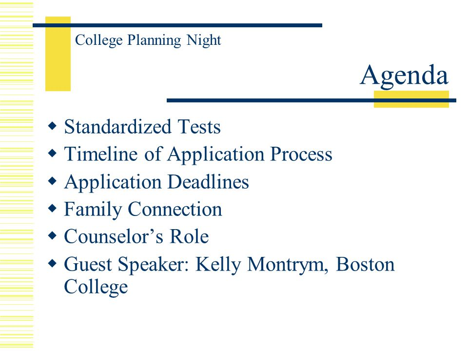 Agenda  Standardized Tests  Timeline of Application Process  Application Deadlines  Family Connection  Counselor's Role  Guest Speaker: Kelly Montrym, Boston College College Planning Night