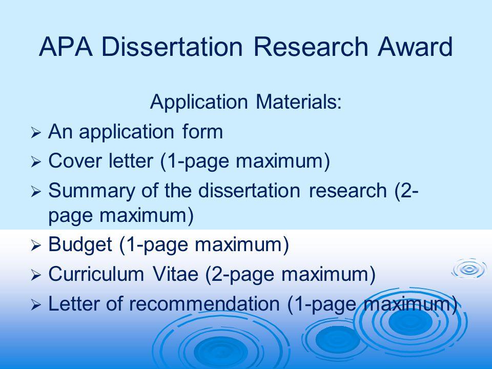 apa dissertation research