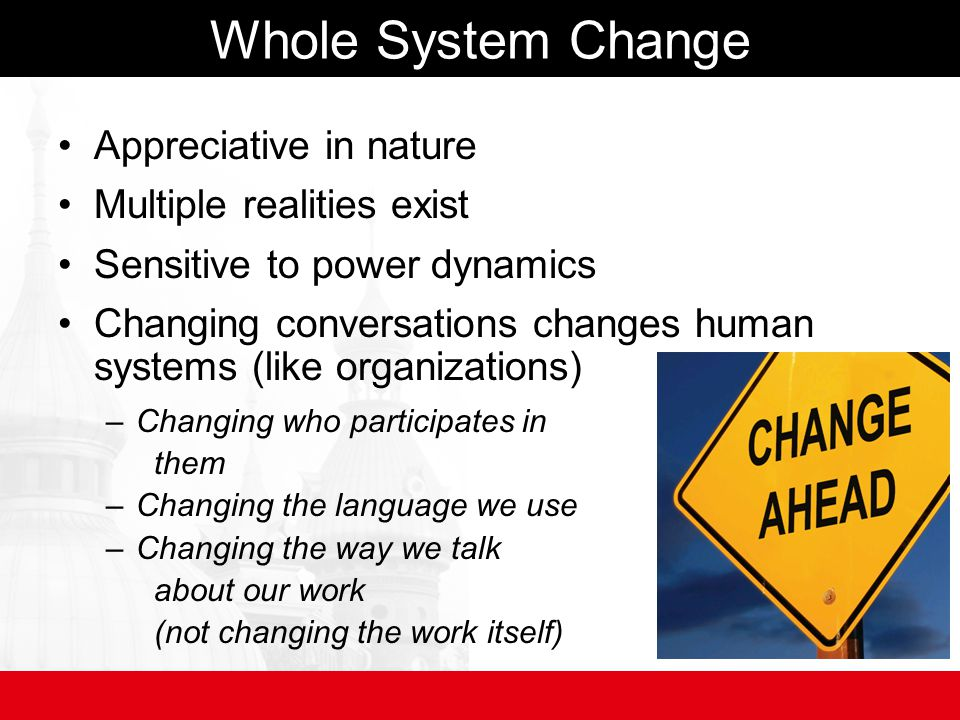 Whole System Change Appreciative in nature Multiple realities exist Sensitive to power dynamics Changing conversations changes human systems (like organizations) –Changing who participates in them –Changing the language we use –Changing the way we talk about our work (not changing the work itself)