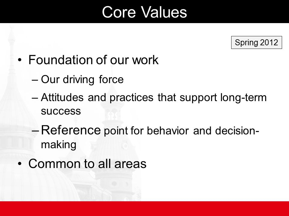 Core Values Foundation of our work –Our driving force –Attitudes and practices that support long-term success –Reference point for behavior and decision- making Common to all areas Spring 2012