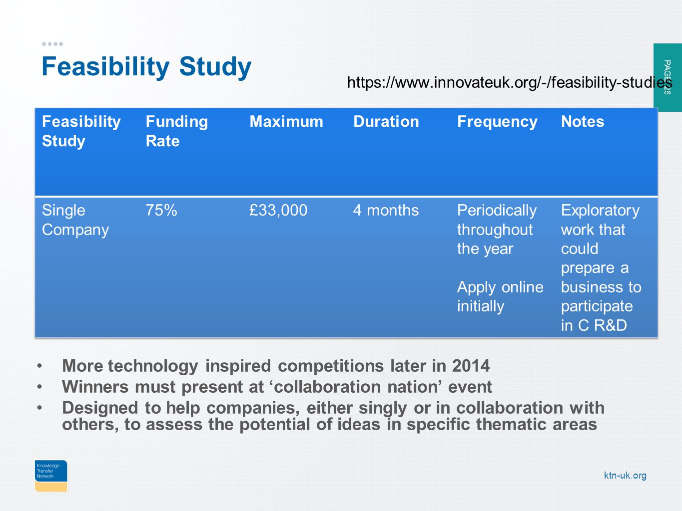 PAGE 26 ktn-uk.org Feasibility Study More technology inspired competitions later in 2014 Winners must present at 'collaboration nation' event Designed to help companies, either singly or in collaboration with others, to assess the potential of ideas in specific thematic areas