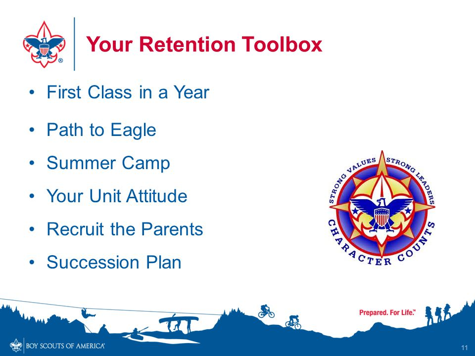 Your Retention Toolbox First Class in a Year Path to Eagle Summer Camp Your Unit Attitude Recruit the Parents Succession Plan 11