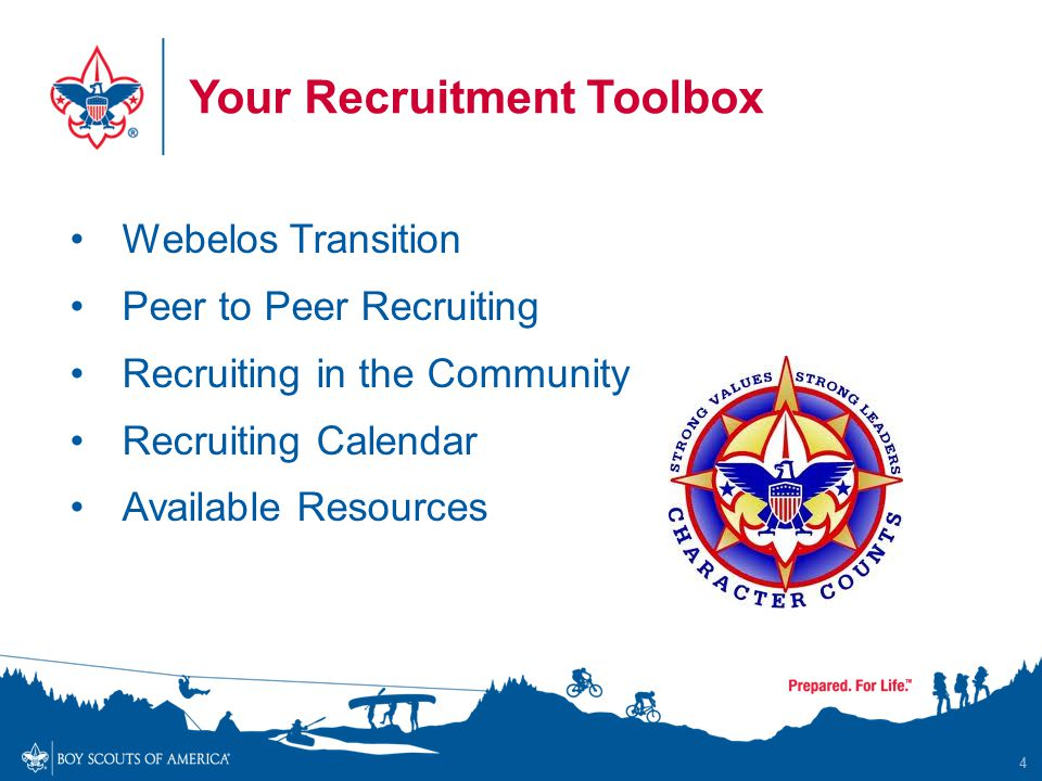 Your Recruitment Toolbox Webelos Transition Peer to Peer Recruiting Recruiting in the Community Recruiting Calendar Available Resources 4