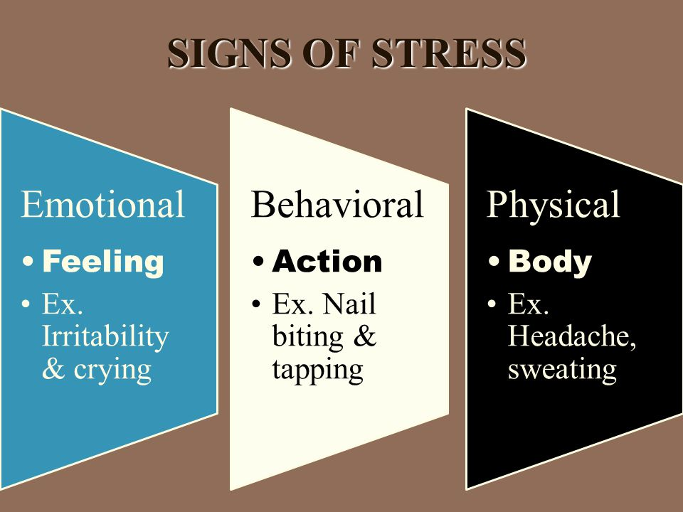 SIGNS OF STRESS SIGNS OF STRESS Emotional Feeling Ex.