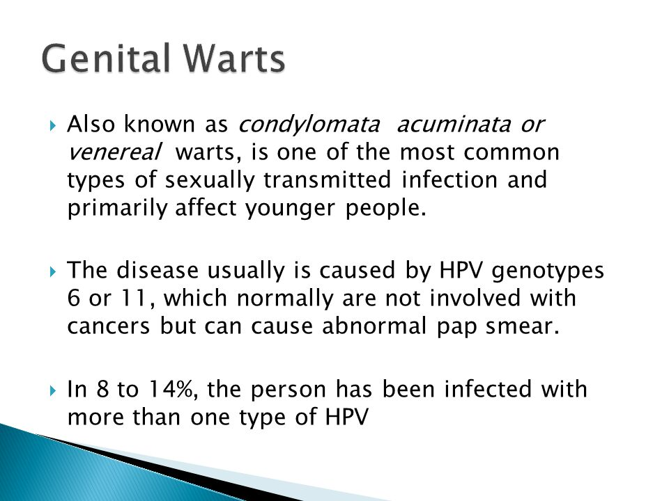 a report on genital warts or condylomata acuminata