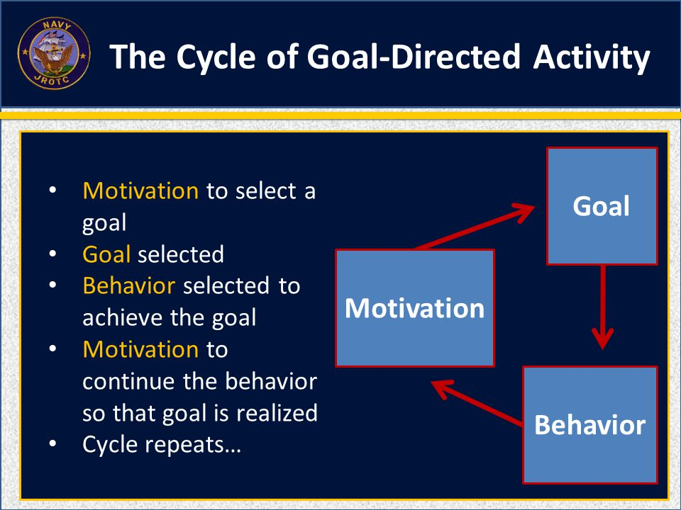 Motivation Behavior Goal Motivation to select a goal Goal selected Behavior selected to achieve the goal Motivation to continue the behavior so that goal is realized Cycle repeats… The Cycle of Goal-Directed Activity