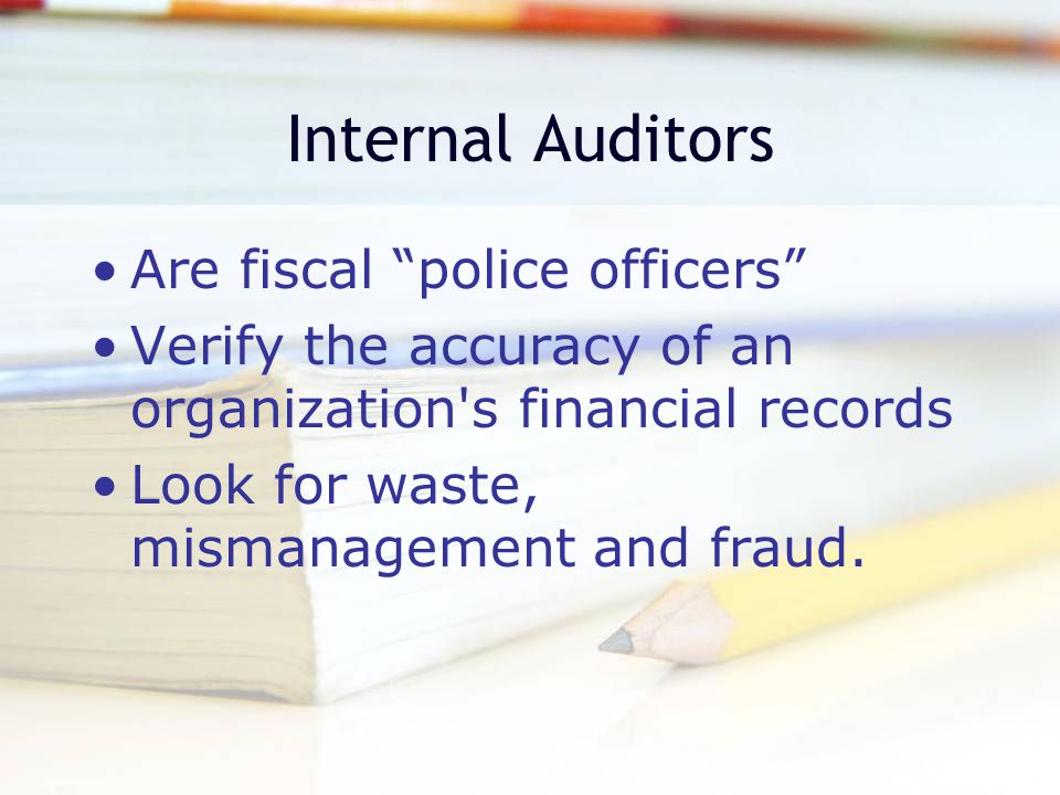 Government Accountants Maintain and examine government records Audit private businesses or individuals on the government s behalf