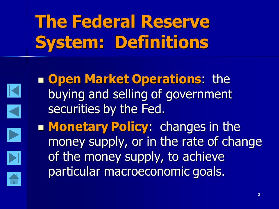 2 The Federal Reserve System: Definitions Federal Reserve System: the central bank of the United States.
