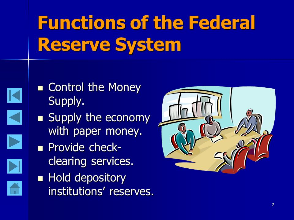 6 The Federal Open Market Committee of the Federal Reserve The major policy making group within the Fed is the Federal Open Market Committee.
