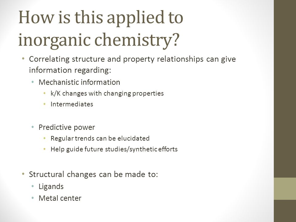qsars and inorganic chemistry what is qsar quantitative structure  how is this applied to inorganic chemistry
