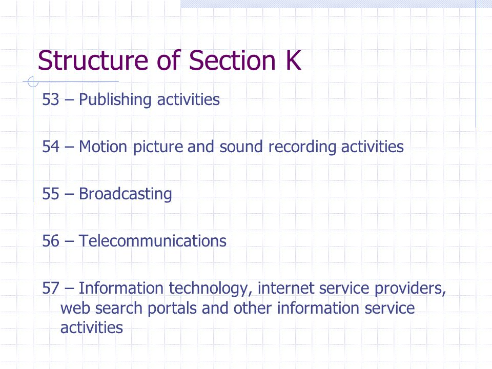 Structure of Section K 53 – Publishing activities 54 – Motion picture and sound recording activities 55 – Broadcasting 56 – Telecommunications 57 – Information technology, internet service providers, web search portals and other information service activities