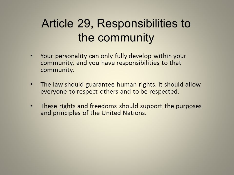 Article 29, Responsibilities to the community Your personality can only fully develop within your community, and you have responsibilities to that com