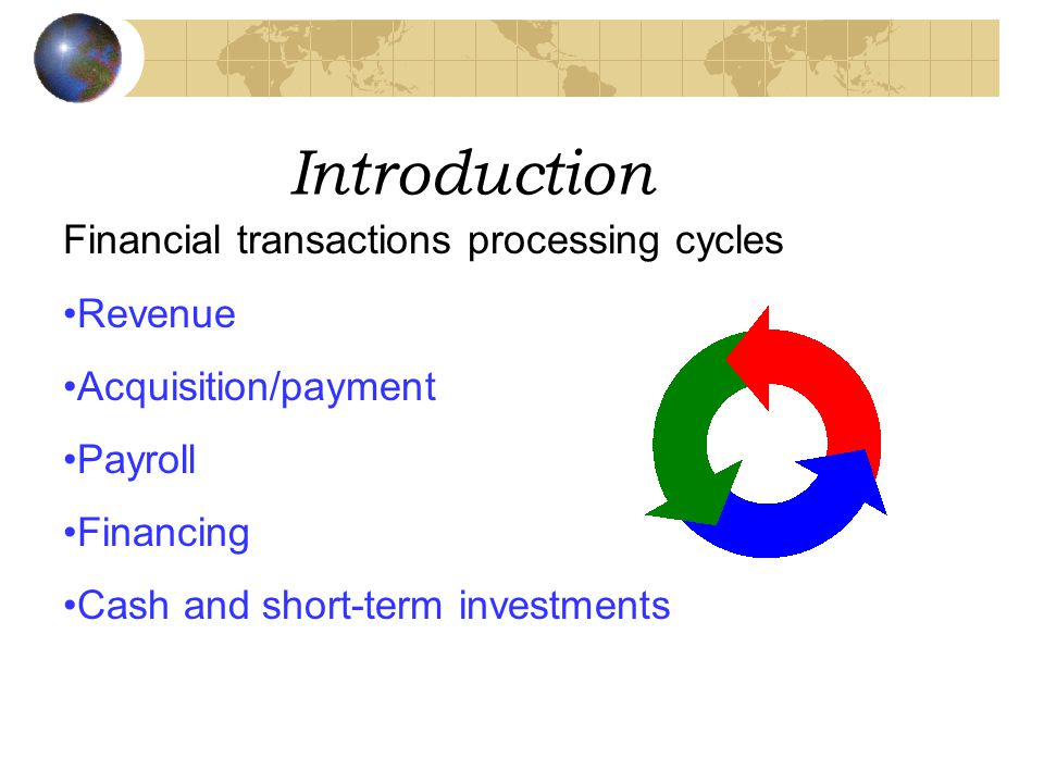 Introduction Financial transactions processing cycles Revenue Acquisition/payment Payroll Financing Cash and short-term investments
