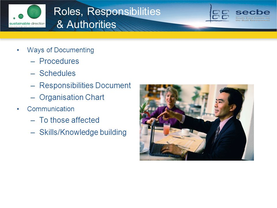 Ways of Documenting –Procedures –Schedules –Responsibilities Document –Organisation Chart Communication –To those affected –Skills/Knowledge building Roles, Responsibilities & Authorities