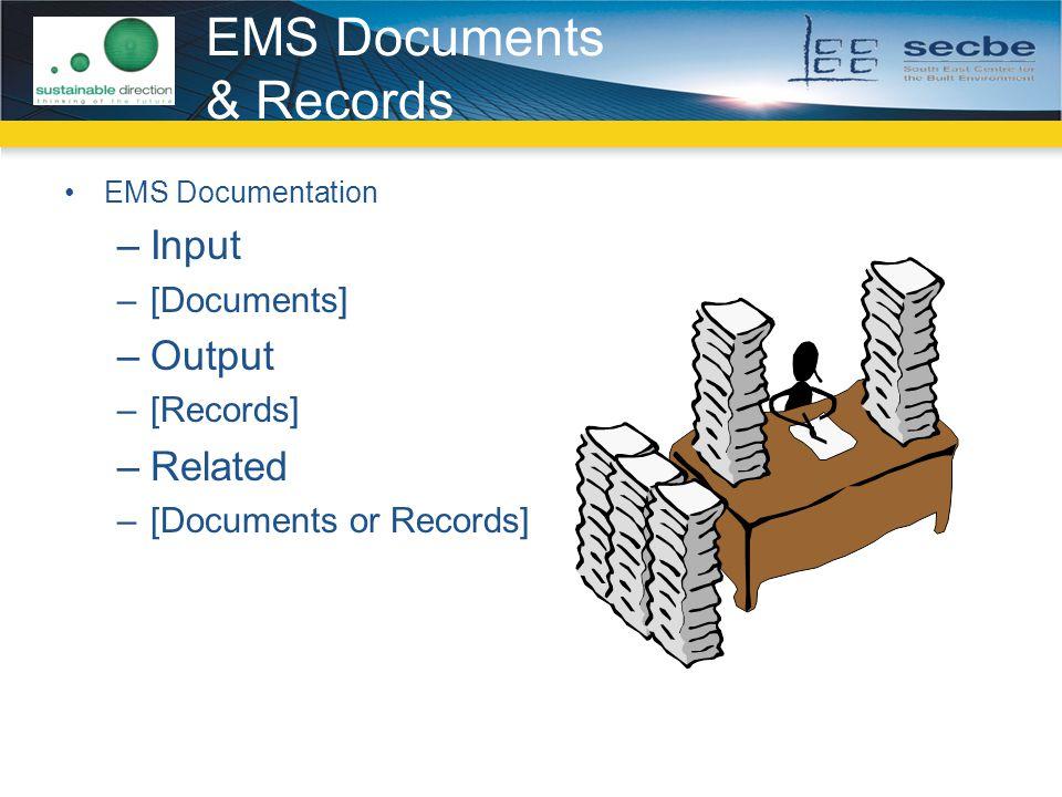 EMS Documents & Records EMS Documentation –Input –[Documents] –Output –[Records] –Related –[Documents or Records]