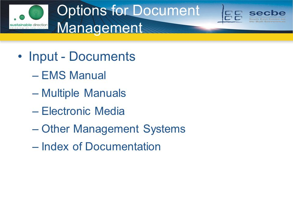 Options for Document Management Input - Documents –EMS Manual –Multiple Manuals –Electronic Media –Other Management Systems –Index of Documentation