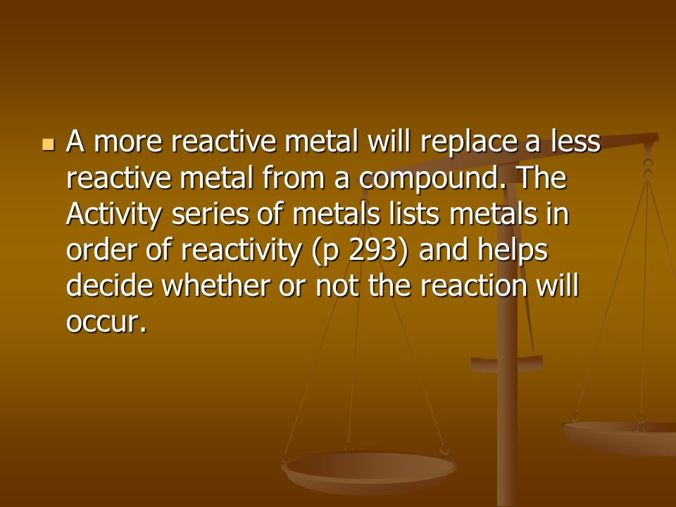A more reactive metal will replace a less reactive metal from a compound.