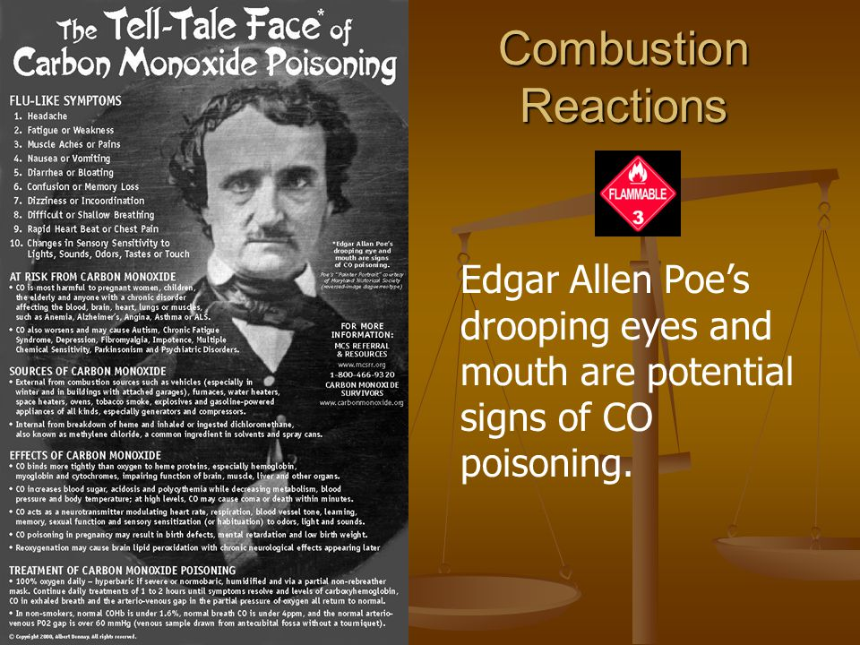 Combustion Reactions Edgar Allen Poe's drooping eyes and mouth are potential signs of CO poisoning.