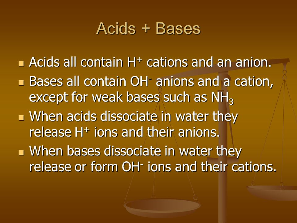 Acids + Bases Acids all contain H + cations and an anion.