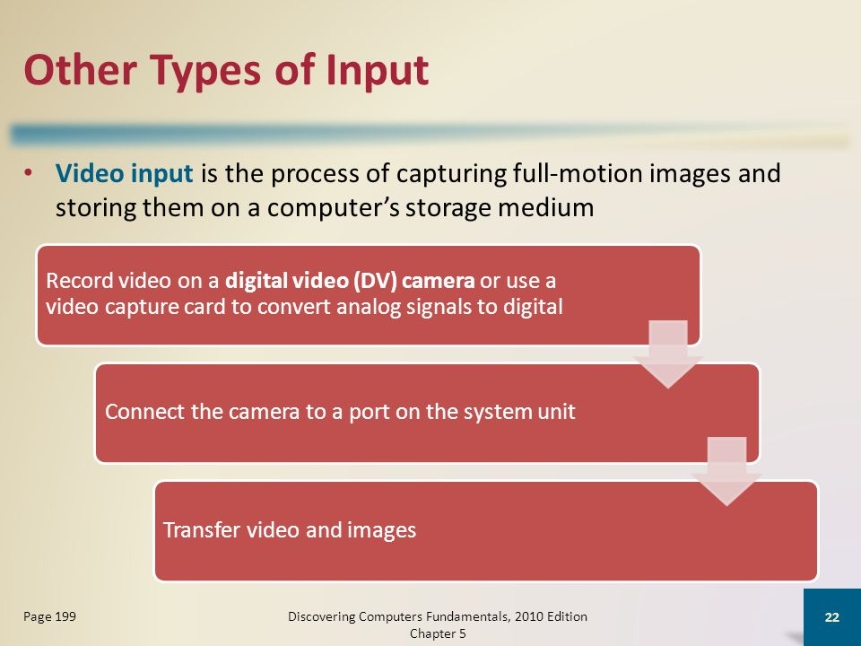 Other Types of Input Video input is the process of capturing full-motion images and storing them on a computer's storage medium Discovering Computers Fundamentals, 2010 Edition Chapter 5 22 Page 199 Record video on a digital video (DV) camera or use a video capture card to convert analog signals to digital Connect the camera to a port on the system unitTransfer video and images