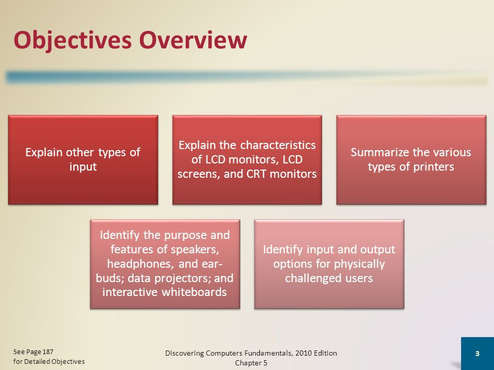 Objectives Overview Explain other types of input Explain the characteristics of LCD monitors, LCD screens, and CRT monitors Summarize the various types of printers Identify the purpose and features of speakers, headphones, and ear- buds; data projectors; and interactive whiteboards Identify input and output options for physically challenged users Discovering Computers Fundamentals, 2010 Edition Chapter 5 3 See Page 187 for Detailed Objectives