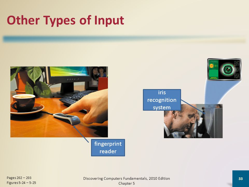 Other Types of Input Discovering Computers Fundamentals, 2010 Edition Chapter 5 33 Pages 202 – 203 Figures 5-24 – 5-25 fingerprint reader iris recognition system