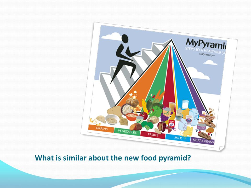 What is similar about the new food pyramid